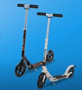 Micro Classic Adult Scooter and a Micro Flex Deluxe Adult Scooter